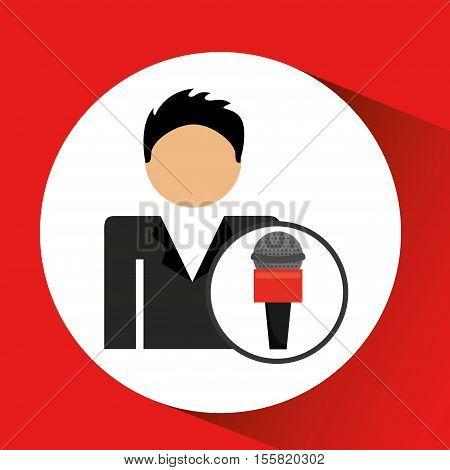 man smartphone news microphone design vector illustration eps 10
