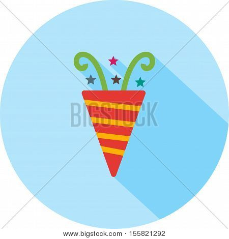 Party, popper, birthday icon vector image. Can also be used for birthday. Suitable for use on mobile apps, web apps and print media.