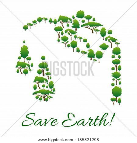 Save Earth ecology symbol of trees in shape of gasoline tank drop, fuel dispenser handle. Conceptual emblem for nature environment protection, pollution prevention. Organic and green natural energy design