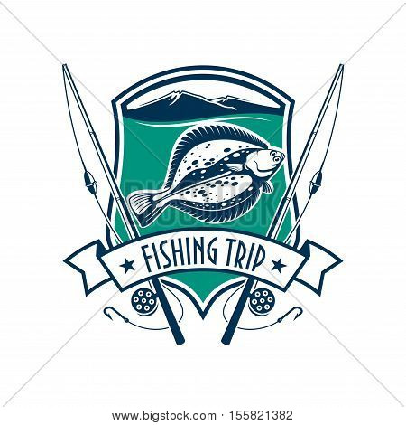 Fishing emblem with icons of fish, fishing rod. Vector sign for fisherman camp sport club, fishing tour trip with marine shield, ribbon, star, flounder fish