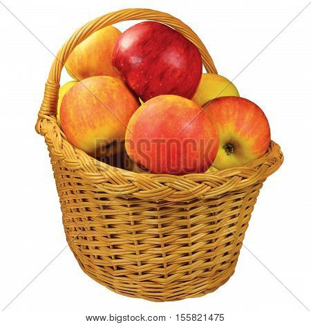 Fresh ripe apple fruits wicker basket, large detailed isolated closeup, red-ripe juicy fruit detail, studio shot, healthy eating lifestyle concept metaphor