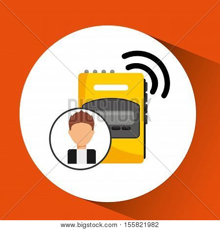 character man tape recorder icon vector illustration eps10