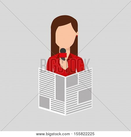 character woman reporter news microphone graphic vector illustration eps 10