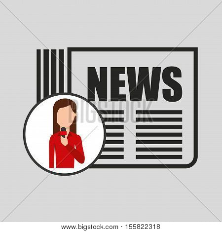 character woman reporter newspaper graphic vector illustration eps 10