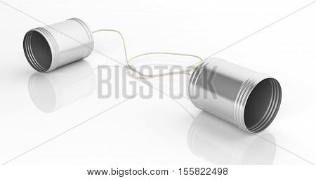 3d rendering tin cans telephone on white background