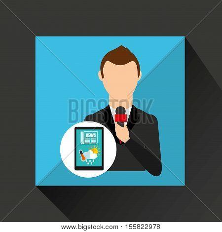 news weather reporter digital icon vector illustration eps 10