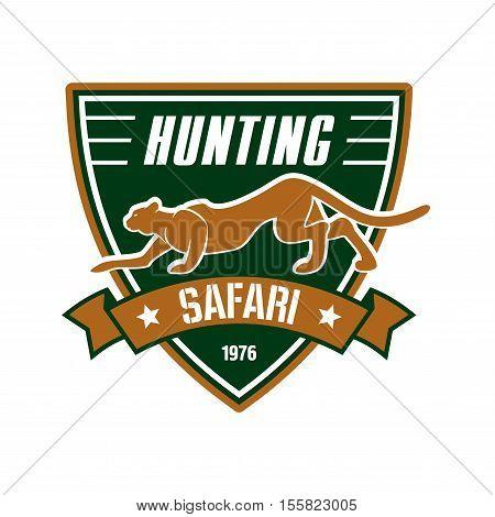Hunting safari club sign. Hunter sport team shield symbol. Safari hunt of wild animal leopard, panther, ribbon, star