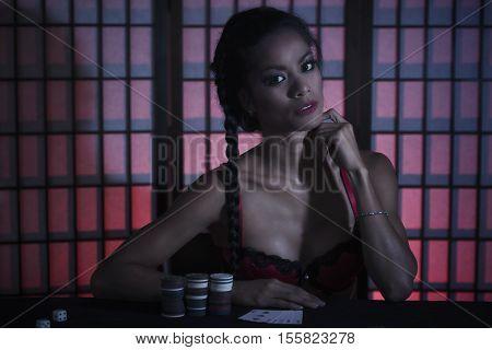 Beautiful Female Poker Player