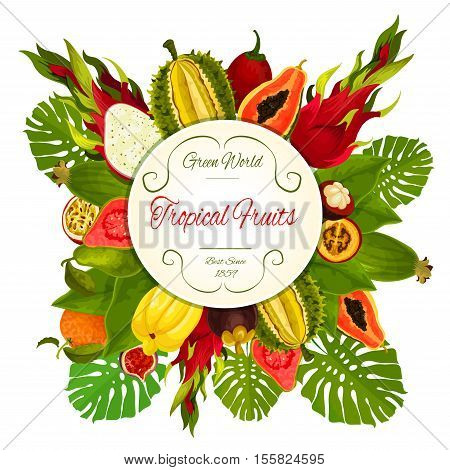 Tropical fruits. Vector exotic fruit icons. Fruit round emblem of durian, dragon fruit, guava, lychee, feijoa, passion fruit maracuya, figs, rambutan, mangosteen, orange, papaya. Bunch of juicy fruits with palm leaves