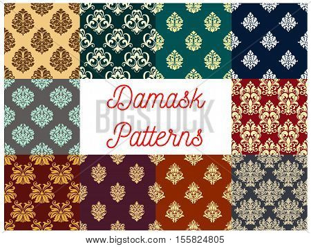 Damask decorative backgrounds. Vector floral ornament seamless patterns set. Luxurious flowery decoration for baroque, classic, royal, luxury damask interior tile