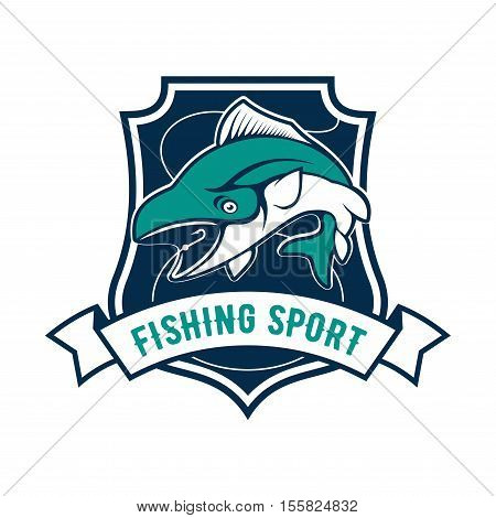Fishing sport shield symbol. Vector icon of tuna fish, fishing rod, hook bait. Sign for fisherman camp sport club, fishing tour trip badge