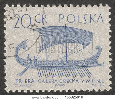 MOSCOW RUSSIA - CIRCA OCTOBER 2016: A post stamp printed in Poland shows a Phoenician merchant ship the series