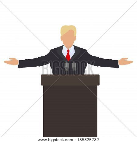 The politician behind the podium. He throws up his hands in greeting. Vector