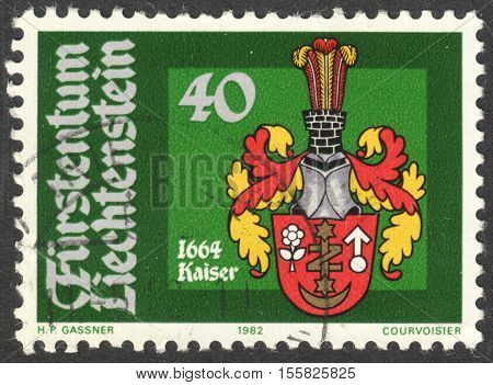 MOSCOW RUSSIA - CIRCA OCTOBER 2016: a post stamp printed in LIECHTENSTEIN shows Bailiff Arms Johann Kaiser the series