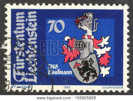 MOSCOW RUSSIA - CIRCA OCTOBER 2016: a post stamp printed in LIECHTENSTEIN shows Arms of Joseph Anton Kaufmann the series