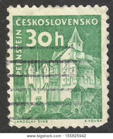MOSCOW RUSSIA - CIRCA OCTOBER 2016: a stamp printed in CZECHOSLOVAKIA shows the Pernstejn castle the series