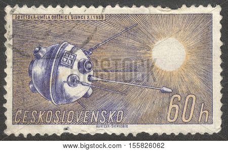 MOSCOW RUSSIA - CIRCA OCTOBER 2016: a post stamp printed in CZECHOSLOVAKIA shows the Luna-1 the series