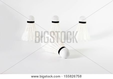 The White Badminton Shuttlecock Isolated On White Background
