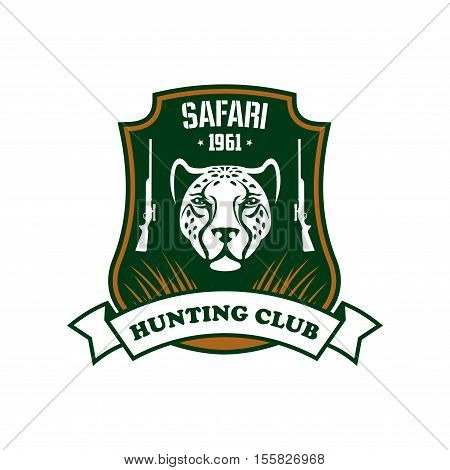 Hunting sport club sign. Safari hunter team vector icon. Wild african animal hunt symbol. Green shield with panther, leopard head, rifle, gun, ribbon