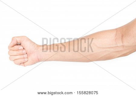 Man arm with blood veins on white background Health care and medicine concept