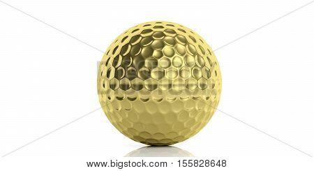 3D Rendering Golden Golf Ball
