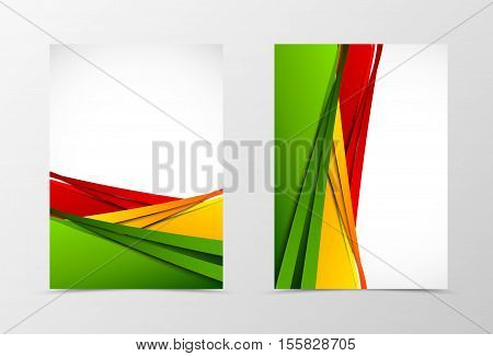Front and back wavy flyer template design. Abstract template with red, orange and green bend lines in bright dynamic style. Vector illustration