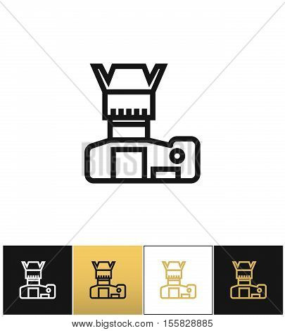 Photo camera or foto vector icon. Photo camera or foto pictograph on black, white and gold background