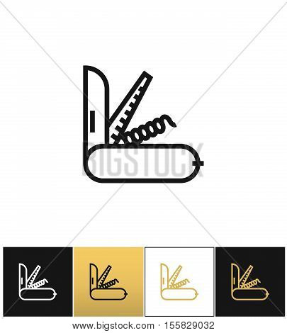 Swiss army knife vector icon. Swiss army knife pictograph on black, white and gold background