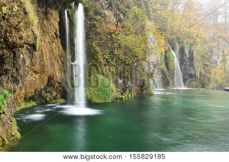 Plitvice Lakes Autumn Color And Mist