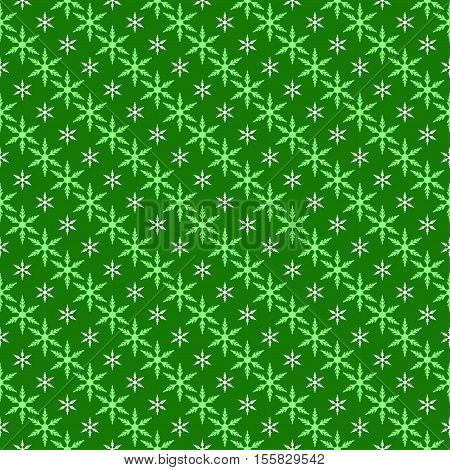 Christmas seamless background with snowflakes in green