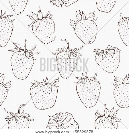 Seamless pattern with strawberries. Hand-drawn monochrome wallpaper. EPS 10 vector illustration.