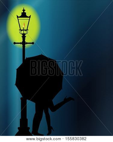 A couple kissing in the night by the light of a street lamppost