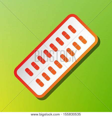 Medical Pills Sign. Contrast Icon With Reddish Stroke On Green Backgound.