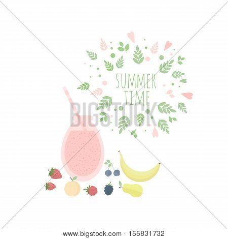 Card with glass of juice or cocktail and fruits on a table and leaves frame. illustration for design. Summer time