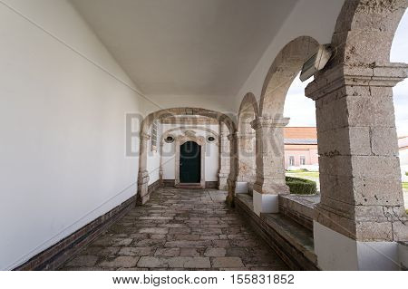Detail of the side cloister of the Church of Our Lady of Nazare (Igreja de Nossa Senhora da Nazare) located on the hilltop O Sitio overlooking Nazare Portugal