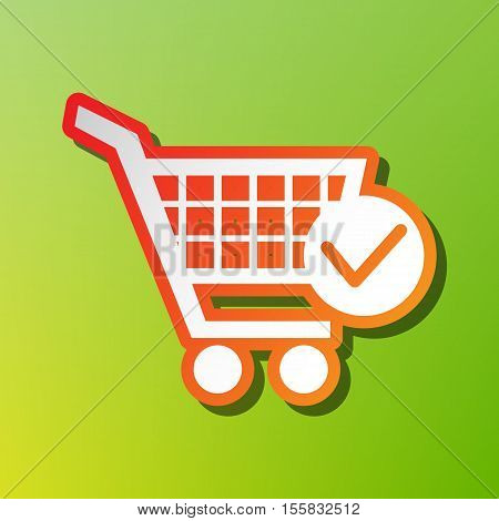Shopping Cart With Check Mark Sign. Contrast Icon With Reddish Stroke On Green Backgound.