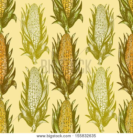 Corn cobs seamless pattern corn cobs background