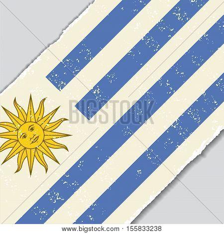 Uruguayan grunge flag diagonal background. Vector illustration.