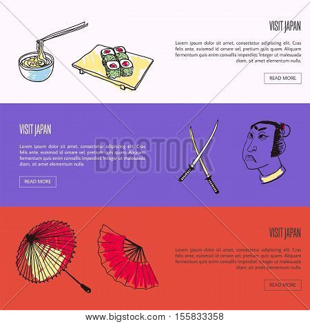 Visit Japan horizontal web banners. Noodles with bamboo sticks, samurai, swords, hand fan and umbrella drawn vector illustration. Template with country related symbols.
