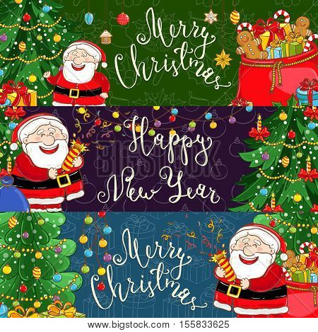 Merry Christmas and Happy New Year cartoon banners. Cheerful Santa with petard, sack with gifts, sweets, christmas tree, toys vector illustrations set. For Xmas greeting cards, invitations