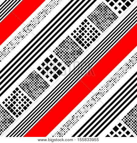 Seamless Diagonal Stripe, Square and Dots Pattern. Vector Black and Red Patchwork Background. Abstract Wrapping Paper Design