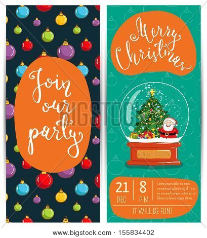 Snow globe with Santa, Christmas tree, gifts vector. Christmas party invitation layout. Merry Christmas and Happy New Year greetings. Template of christmas party invitation. Design for christmas party invintation. Christmas concept. Ad for christmas party