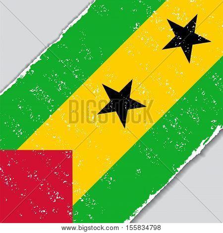 Sao Tome and Principe grunge flag diagonal background. Vector illustration.