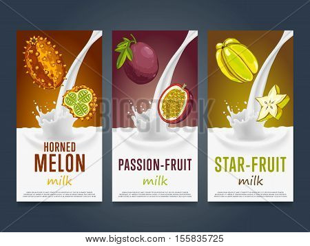 Milkshake concept with milk splash and fruit vector illustration. Milk dessert, yogurt, fruit mix, cocktail drink, fruit smoothie with horned melon, star fruit, passion fruit packaging. Dairy product.