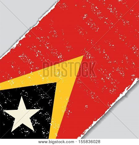 Timor-Leste grunge flag diagonal background. Vector illustration.