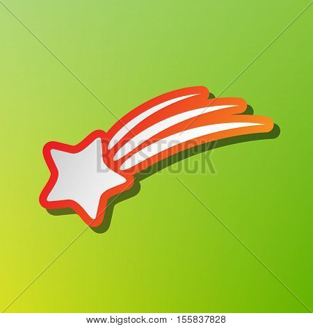 Shooting Star Sign. Contrast Icon With Reddish Stroke On Green Backgound.