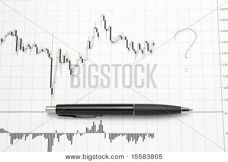 Printed Forex Chart With Pen - Uncertainty Of Future
