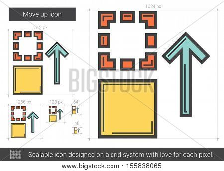 Move up vector line icon isolated on white background. Move up line icon for infographic, website or app. Scalable icon designed on a grid system.