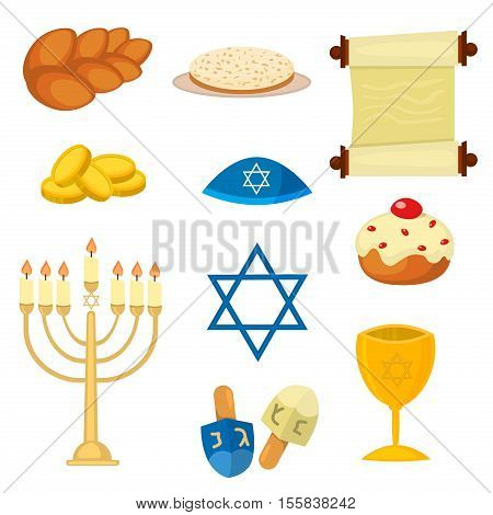 Judaism church traditional symbols jewish icons set isolated vector. Various jewish symbols and items hanukkah celebration flat icons set isolated vector. Jewish icons church traditional religious.