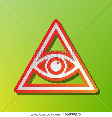 All Seeing Eye Pyramid Symbol. Freemason And Spiritual. Contrast Icon With Reddish Stroke On Green B